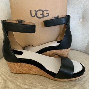 UGG Zoe II Black Leather Wedges